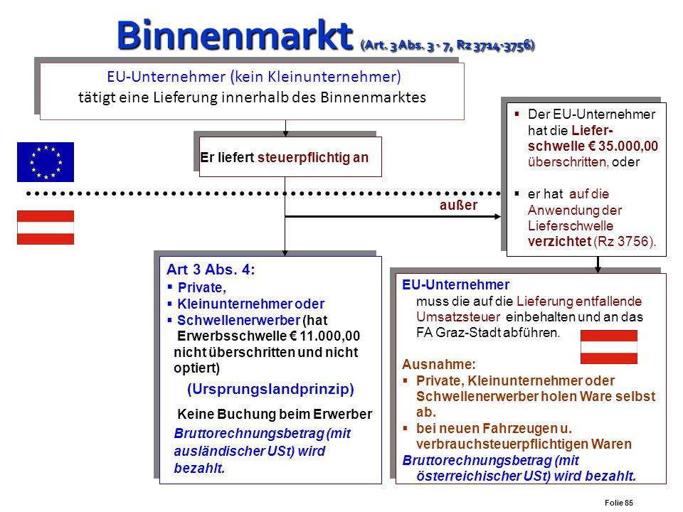 Folie 84 Unternehmer verbringt Gegenstände zu seiner Verfügung Binnenmarkt (Art. 3 Abs. 1 Z 1) Binnenmarkt (Art. 3 Abs. 1 Z 1) Innergemeinschaftliches