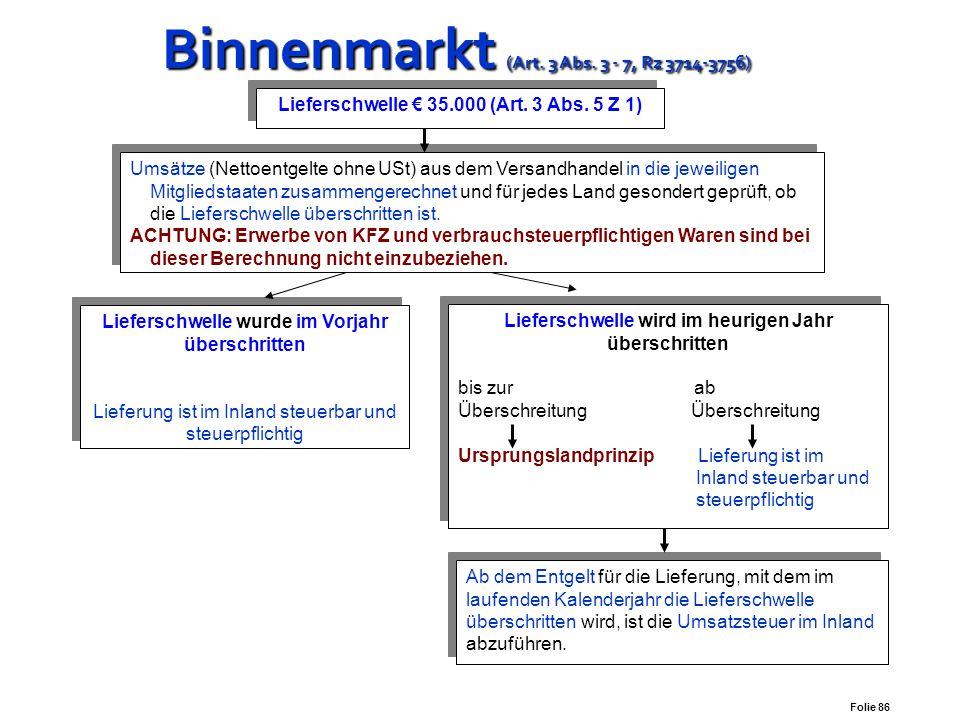 Folie 85 Binnenmarkt (Art. 3 Abs. 3 - 7, Rz 3714-3756) Binnenmarkt (Art. 3 Abs. 3 - 7, Rz 3714-3756) Versandhandelsregelung Art 3 Abs. 4:  Private, 
