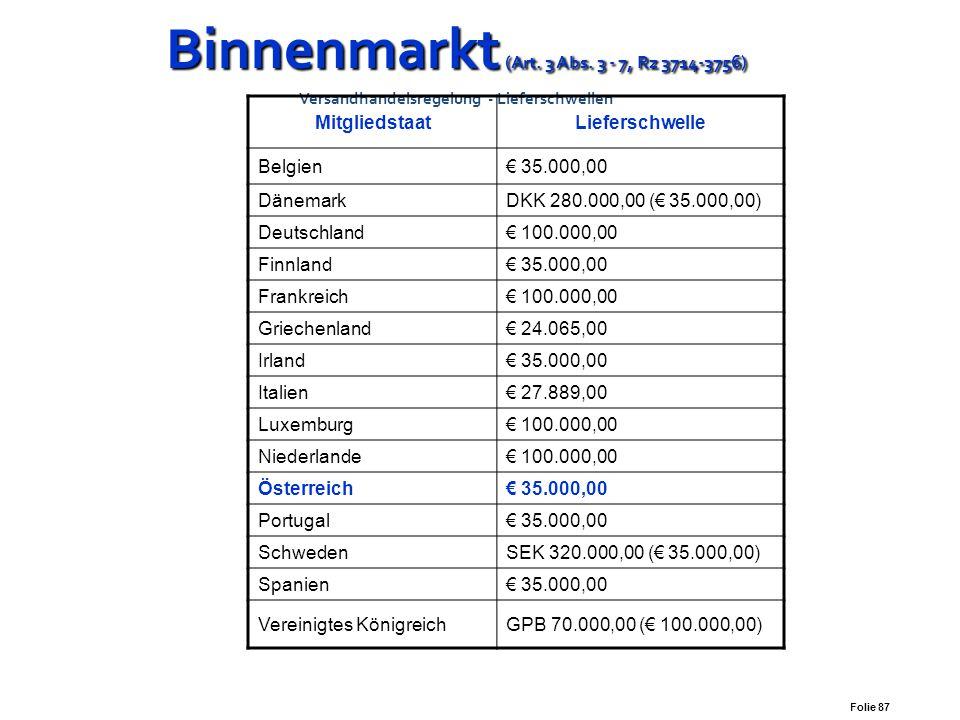 Folie 86 Binnenmarkt (Art. 3 Abs. 3 - 7, Rz 3714-3756) Binnenmarkt (Art. 3 Abs. 3 - 7, Rz 3714-3756) Versandhandelsregelung Ab dem Entgelt für die Lie