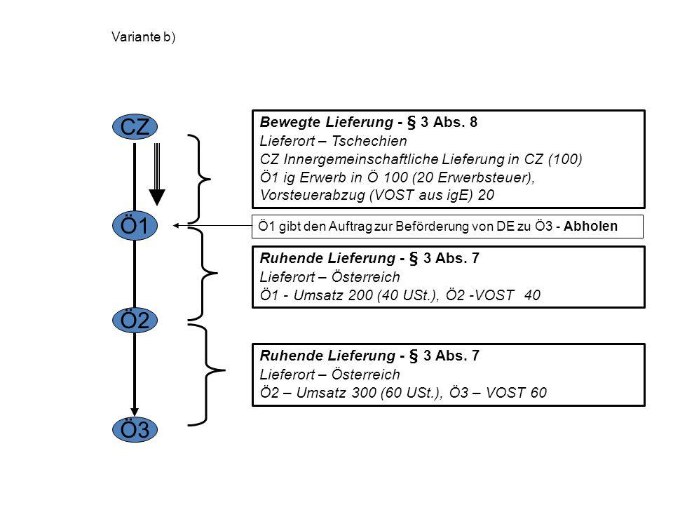 Variante a) CZ Ö1 Ö2 Ö3 CZ gibt den Auftrag zur Beförderung von DE zu Ö3 Bewegte Lieferung - § 3 Abs. 8 Lieferort – Tschechien CZ Innergemeinschaftlic
