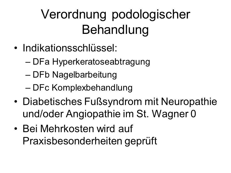 Verordnung podologischer Behandlung Indikationsschlüssel: –DFa Hyperkeratoseabtragung –DFb Nagelbarbeitung –DFc Komplexbehandlung Diabetisches Fußsyndrom mit Neuropathie und/oder Angiopathie im St.