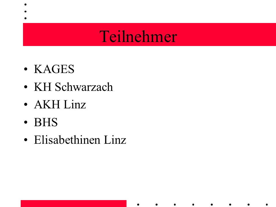 Teilnehmer KAGES KH Schwarzach AKH Linz BHS Elisabethinen Linz