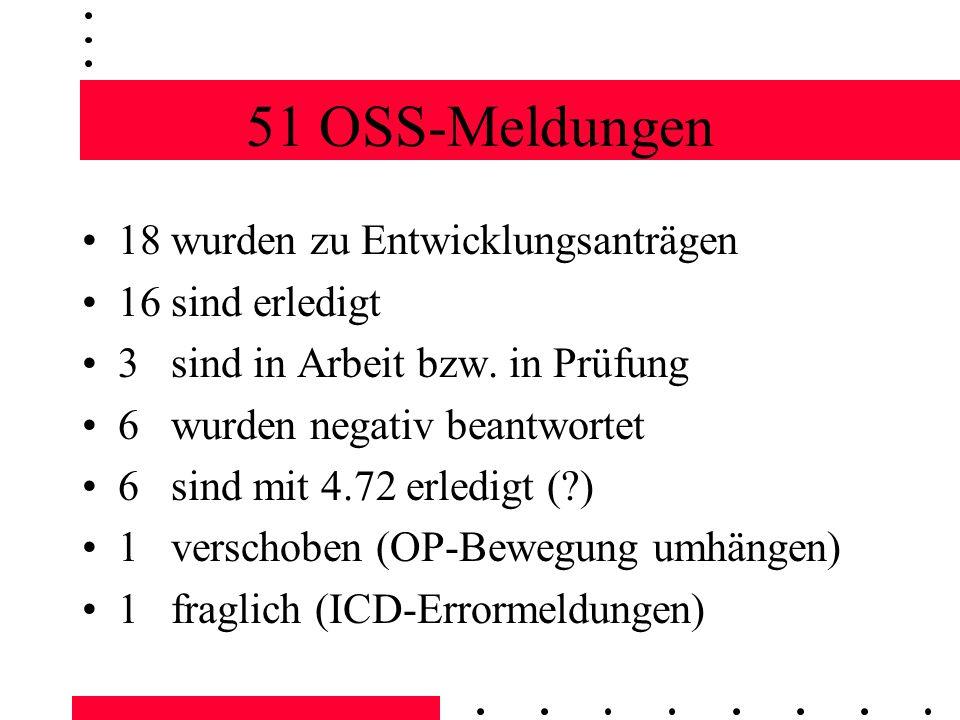 51 OSS-Meldungen 18 wurden zu Entwicklungsanträgen 16 sind erledigt 3 sind in Arbeit bzw.