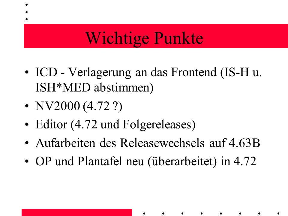Wichtige Punkte ICD - Verlagerung an das Frontend (IS-H u.