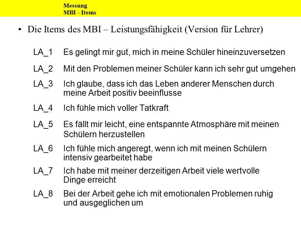 Die Items des MBI – Leistungsfähigkeit (Version für Lehrer) LA_1Es gelingt mir gut, mich in meine Schüler hineinzuversetzen LA_2Mit den Problemen mein