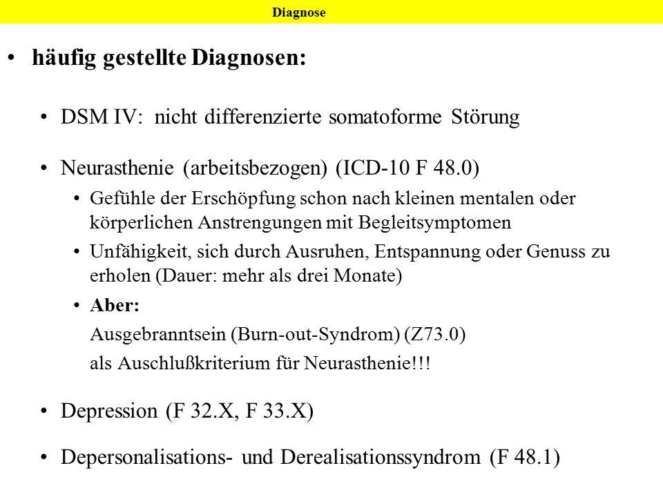 häufig gestellte Diagnosen: DSM IV: nicht differenzierte somatoforme Störung Neurasthenie (arbeitsbezogen) (ICD-10 F 48.0) Gefühle der Erschöpfung sch