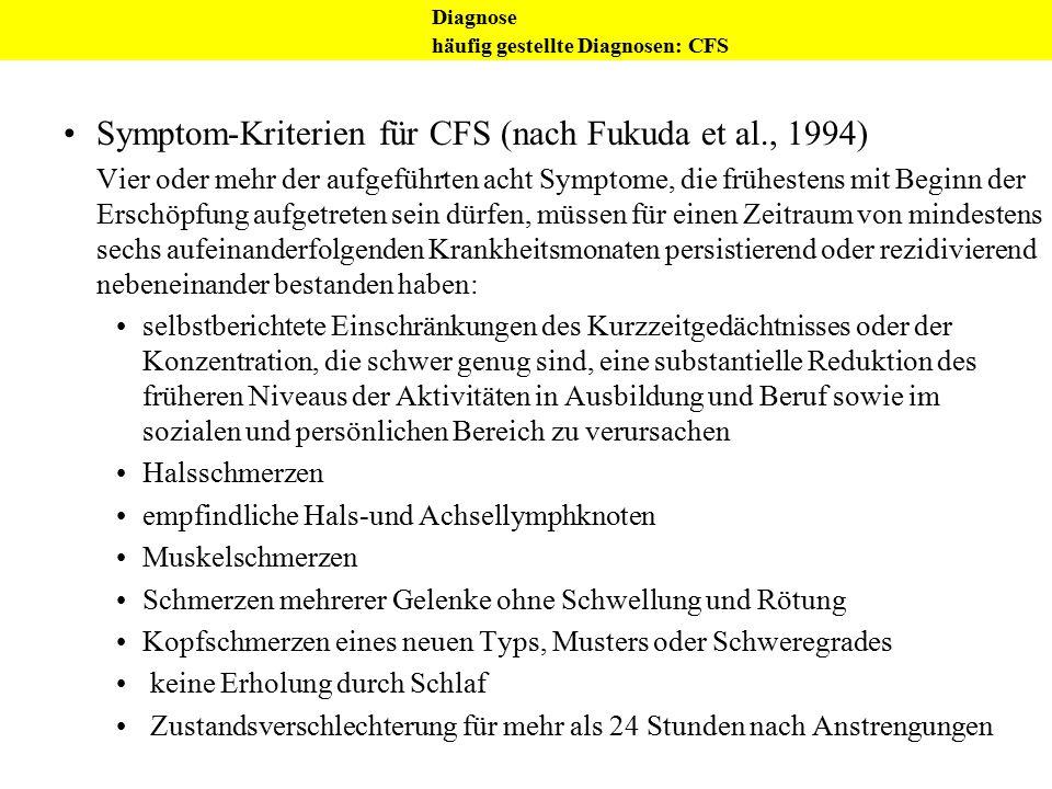 Symptom-Kriterien für CFS (nach Fukuda et al., 1994) Vier oder mehr der aufgeführten acht Symptome, die frühestens mit Beginn der Erschöpfung aufgetre