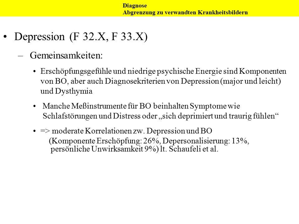 Depression (F 32.X, F 33.X) – Gemeinsamkeiten: Erschöpfungsgefühle und niedrige psychische Energie sind Komponenten von BO, aber auch Diagnosekriterie