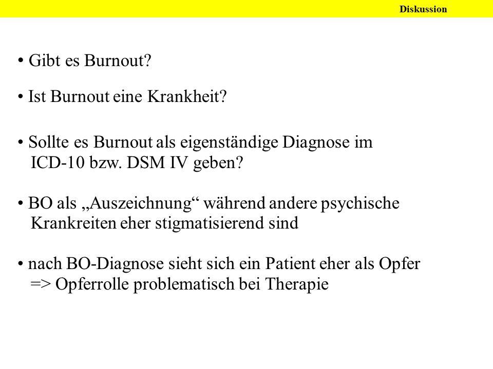 """Gibt es Burnout? Ist Burnout eine Krankheit? Sollte es Burnout als eigenständige Diagnose im ICD-10 bzw. DSM IV geben? BO als """"Auszeichnung"""" während a"""