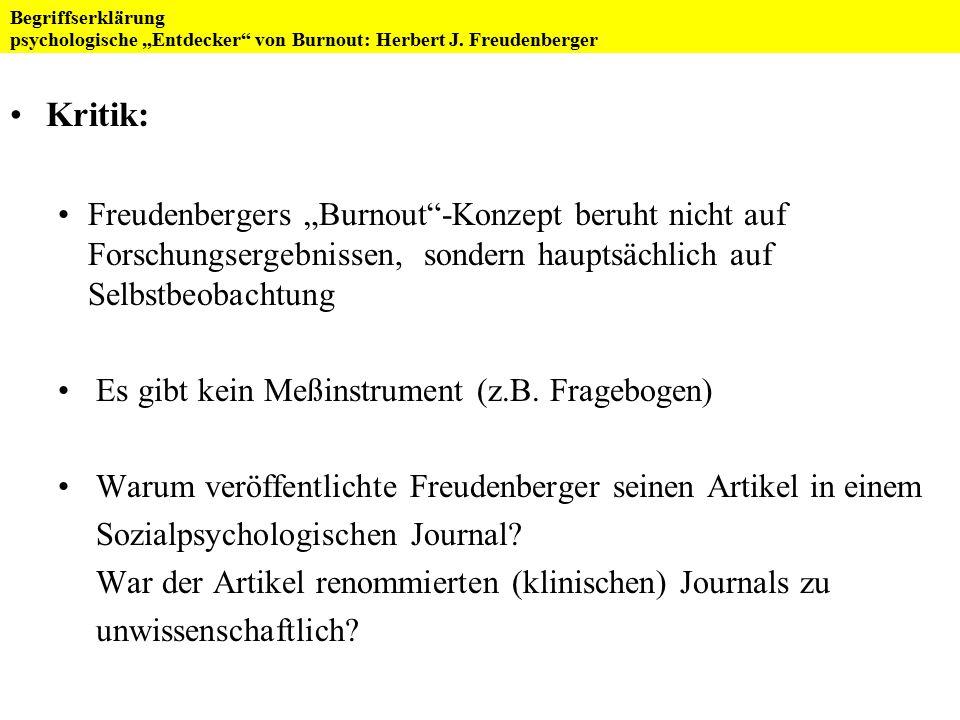 """Burnout FoV """"Psychoneuroendokrinologie und Psychosomatik WS 2007/08 Referat von Birgit Roß Diskussion"""