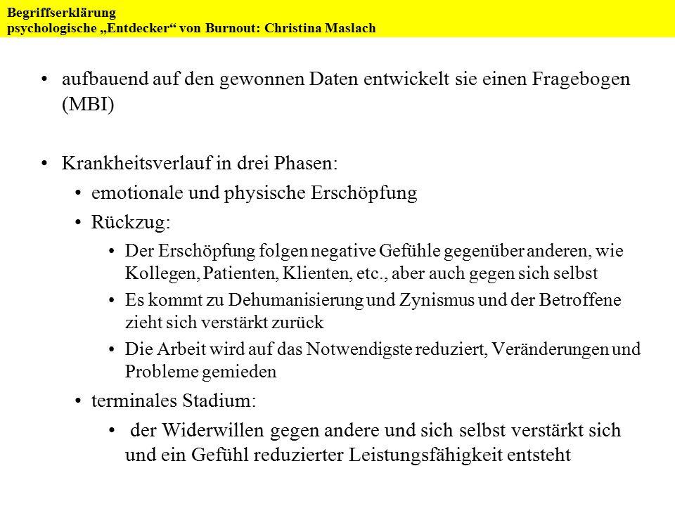 """Burnout FoV """"Psychoneuroendokrinologie und Psychosomatik WS 2007/08 Referat von Birgit Roß Messung"""
