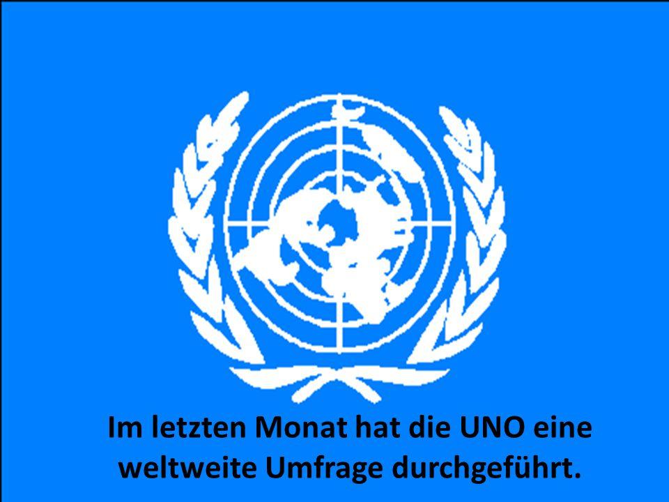 Im letzten Monat hat die UNO eine weltweite Umfrage durchgeführt.