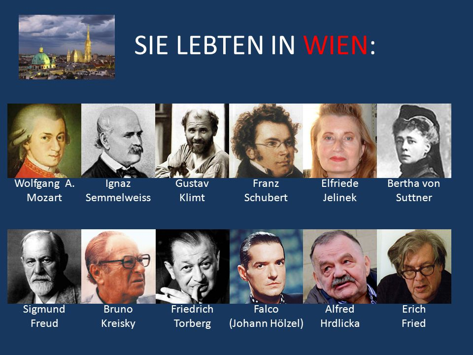 SIE LEBTEN IN WIEN: Wolfgang A. Mozart Sigmund Freud Ignaz Semmelweiss Gustav Klimt Franz Schubert Friedrich Torberg Bruno Kreisky Bertha von Suttner
