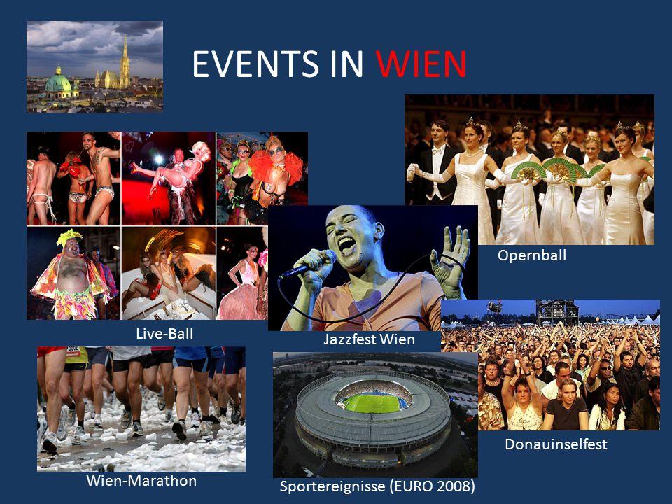 EVENTS IN WIEN Opernball Live-Ball Jazzfest Wien Wien-Marathon Donauinselfest Sportereignisse (EURO 2008)