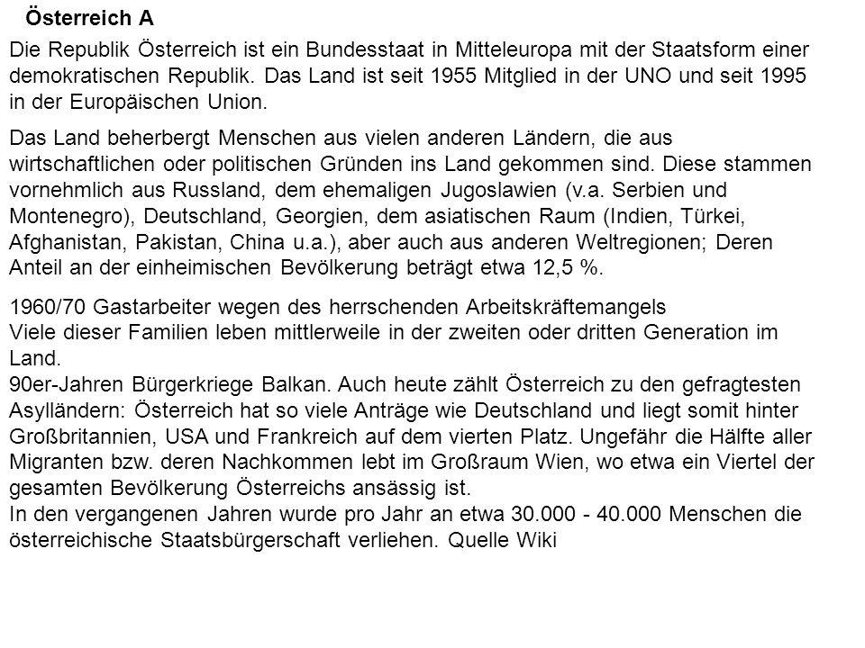 Die Republik Österreich ist ein Bundesstaat in Mitteleuropa mit der Staatsform einer demokratischen Republik.