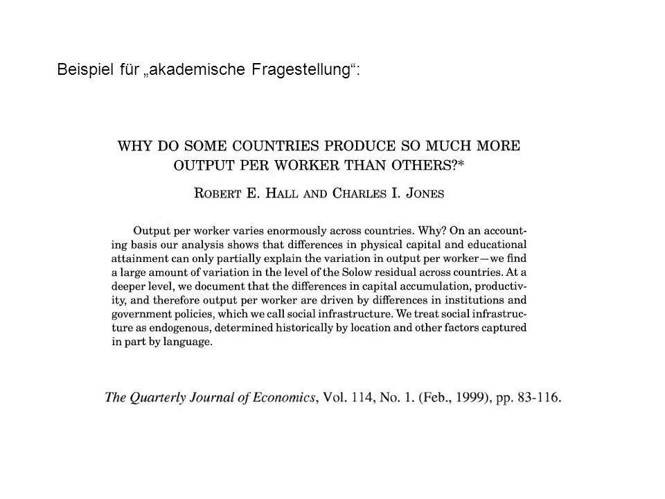 """Beispiel für """"akademische Fragestellung :"""