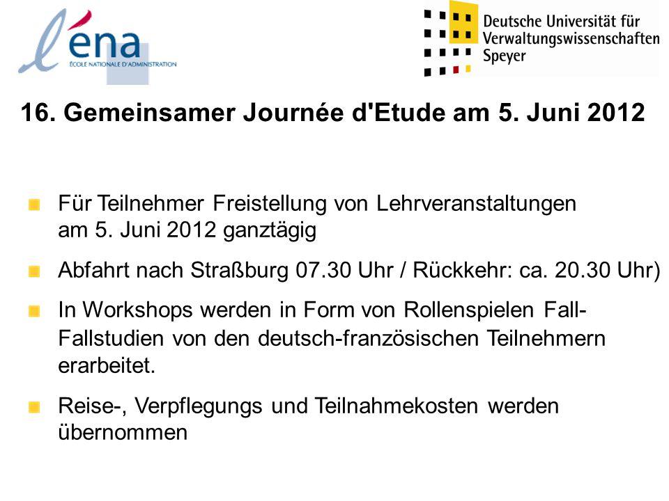 Themen der Workshops 1.Grenzüberschreitende Zollfragen (D & F) 2.Energieregulierung (Engl.) 3.Erarbeitung eines Beitrittsgesuchs Palestinas zur UNO (Engl.) 4.Ein Gemeinschaftsrechtsstreit am EuGH (Engl.) 5.Sitzung der Oberrheinkonferenz zum Atomkraftwerk Fessenheim (D & F) 6.Kapitalrestrukturierung der EADS (Engl.) 7.Simulation eines deutsch-französischen Minsterrats (D & F) 8.Mindestlohn in Deutschland und Frankreich (D & F) 9.Internationales Verhandeln: Eine Sitzung des UN-Sicherheitsrats (Engl.) 10.