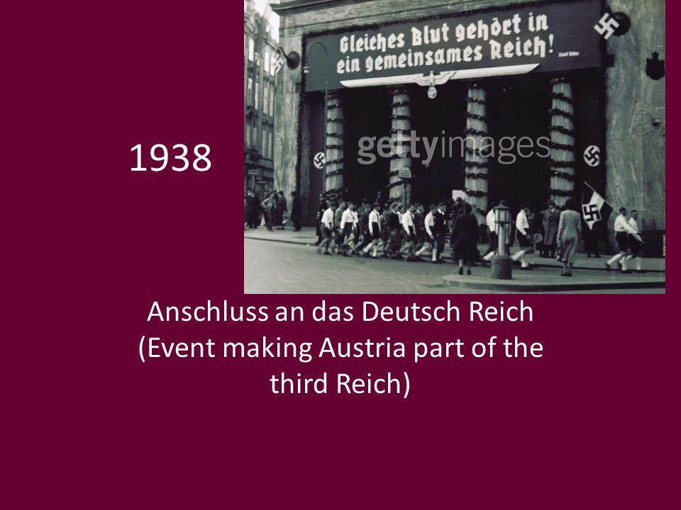 1938 Anschluss an das Deutsch Reich (Event making Austria part of the third Reich)
