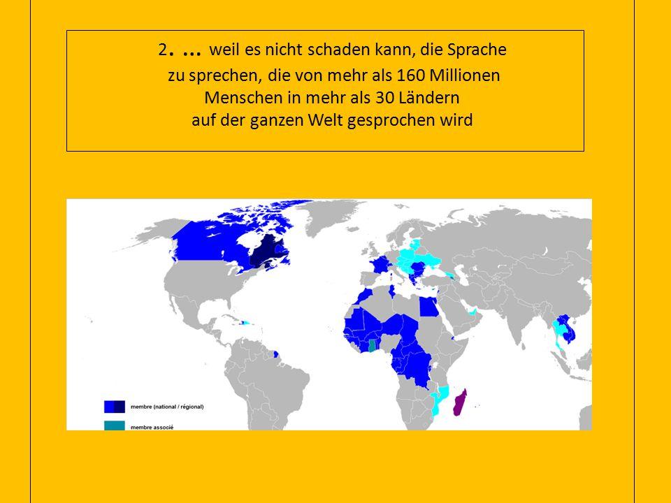 2. … weil es nicht schaden kann, die Sprache zu sprechen, die von mehr als 160 Millionen Menschen in mehr als 30 Ländern auf der ganzen Welt gesproche