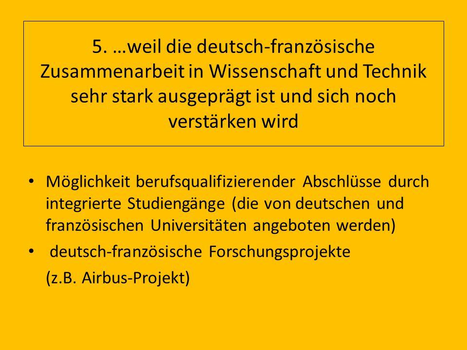 5. …weil die deutsch-französische Zusammenarbeit in Wissenschaft und Technik sehr stark ausgeprägt ist und sich noch verstärken wird Möglichkeit beruf