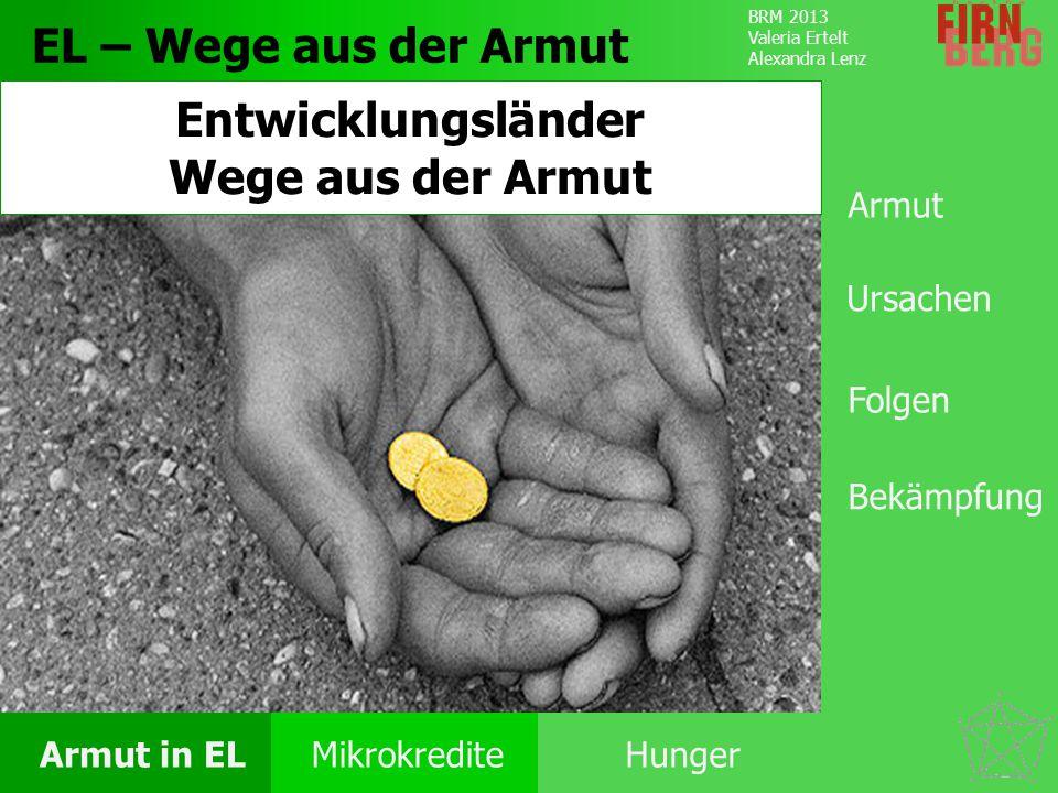 BRM 2013 Valeria Ertelt Alexandra Lenz Armut in ELMikrokrediteHunger Ursachen Folgen Unter- ernährung Bekämpfung Forschungs- frage Fazit Hunger in Entwicklungsländern