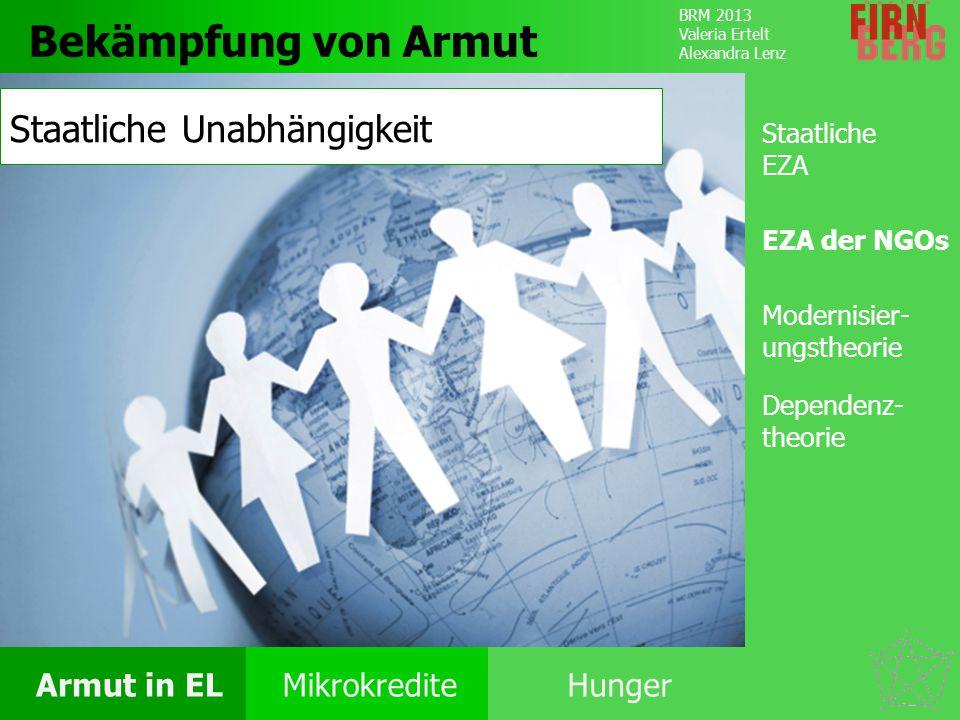 BRM 2013 Valeria Ertelt Alexandra Lenz Armut in ELMikrokrediteHunger Folgen Ursachen Armut Bekämpfung Bekämpfung von Armut Staatliche EZA EZA der NGOs