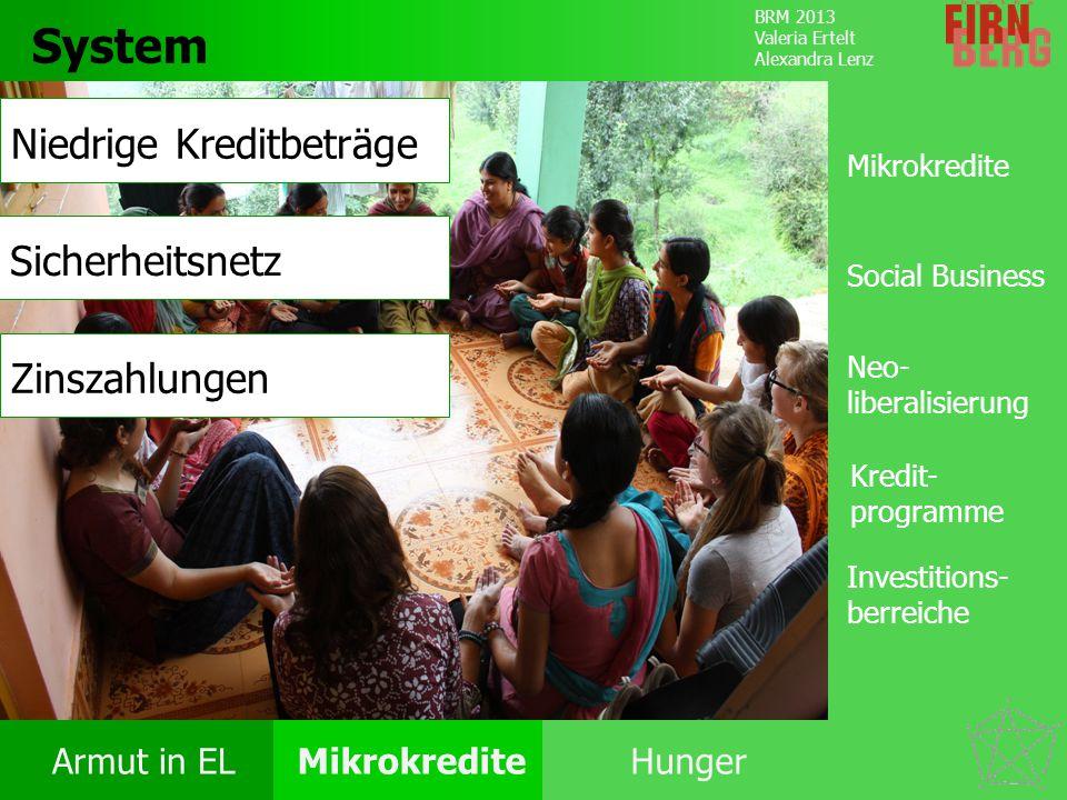 BRM 2013 Valeria Ertelt Alexandra Lenz Armut in ELMikrokrediteHunger Kritik System Forschungs- frage Fazit System Mikrokredite Social Business Kredit-