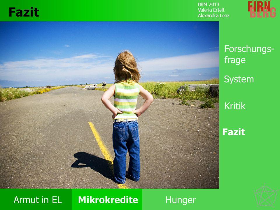 BRM 2013 Valeria Ertelt Alexandra Lenz Armut in ELMikrokrediteHunger Kritik System Forschungs- frage Fazit