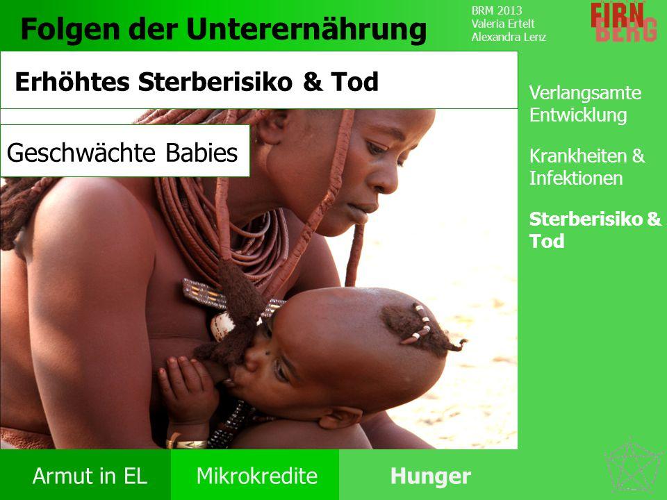 BRM 2013 Valeria Ertelt Alexandra Lenz Armut in ELMikrokrediteHunger Ursachen Folgen Unter- ernährung Bekämpfung Forschungs- frage Fazit Folgen der Un