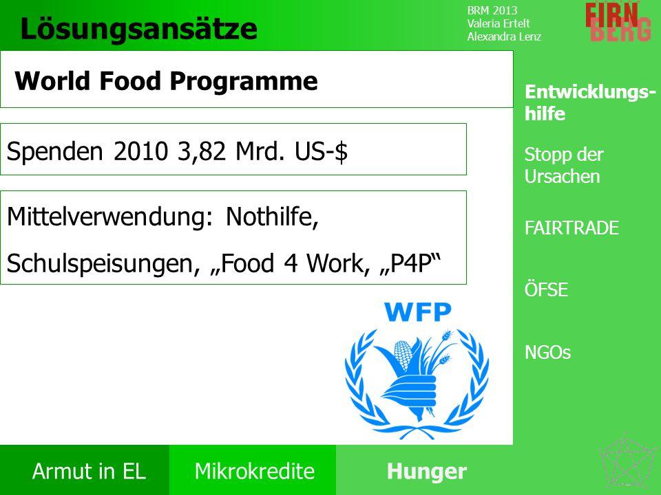 BRM 2013 Valeria Ertelt Alexandra Lenz Armut in ELMikrokrediteHunger Ursachen Folgen Unter- ernährung Bekämpfung Forschungs- frage Fazit Lösungsansätz
