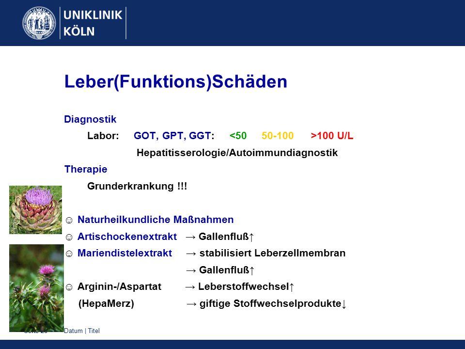 Datum | TitelSeite 26 Leber(Funktions)Schäden Diagnostik Labor: GOT, GPT, GGT: 100 U/L Hepatitisserologie/Autoimmundiagnostik Therapie Grunderkrankung