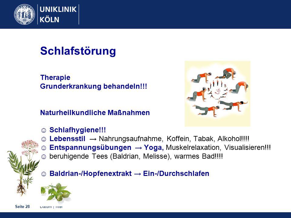 Datum | TitelSeite 28 Schlafstörung Therapie Grunderkrankung behandeln!!.
