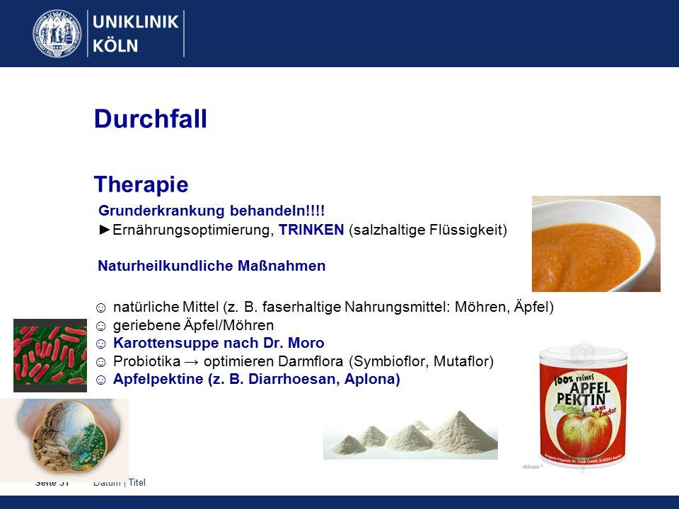 Datum | TitelSeite 31 Durchfall Therapie Grunderkrankung behandeln!!!! ►Ernährungsoptimierung, TRINKEN (salzhaltige Flüssigkeit) Naturheilkundliche Ma
