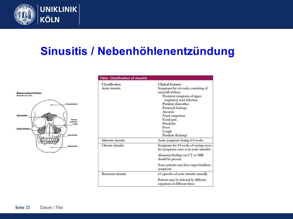 Datum | TitelSeite 33 Sinusitis / Nebenhöhlenentzündung