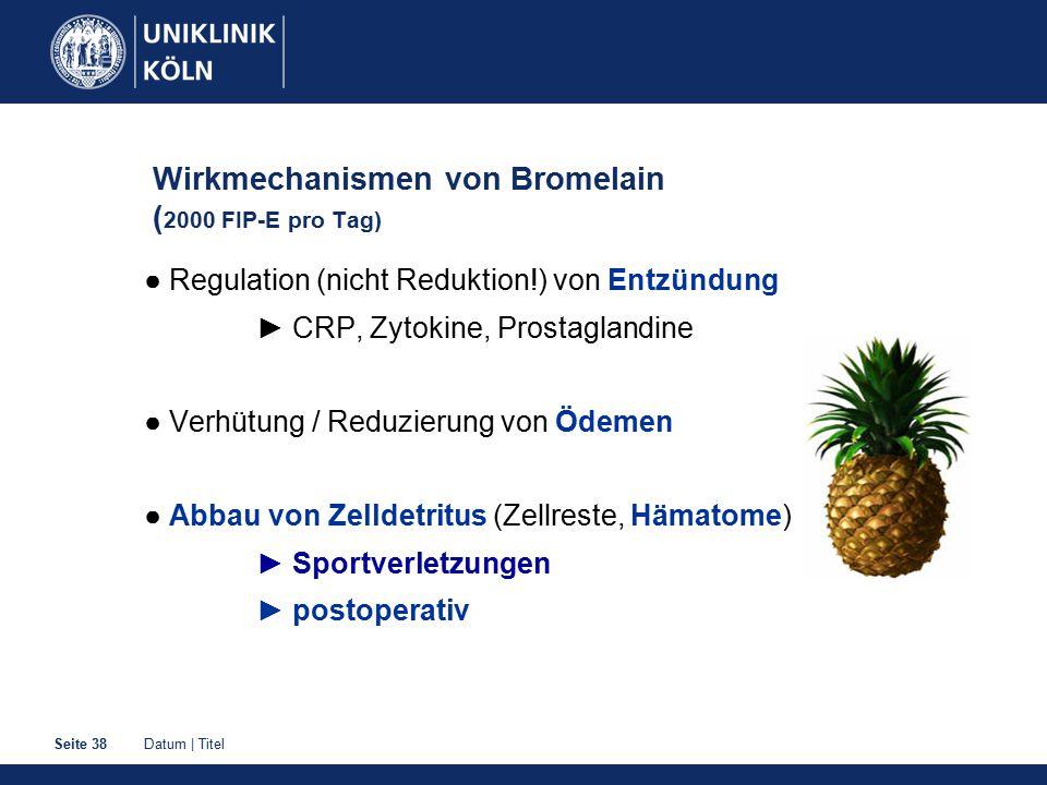 Datum | TitelSeite 38 Wirkmechanismen von Bromelain ( 2000 FIP-E pro Tag) ● Regulation (nicht Reduktion!) von Entzündung ► CRP, Zytokine, Prostaglandi