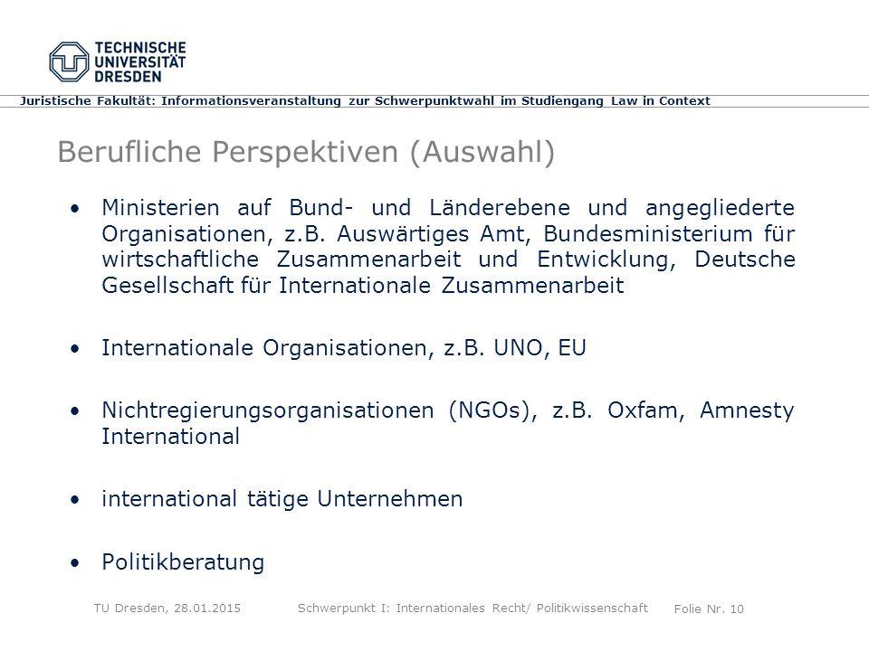 Folie Nr. 10 Juristische Fakultät: Informationsveranstaltung zur Schwerpunktwahl im Studiengang Law in Context Berufliche Perspektiven (Auswahl) Minis
