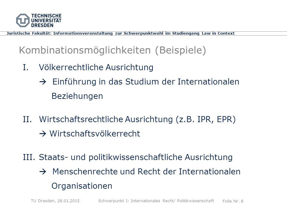 Folie Nr. 8 Juristische Fakultät: Informationsveranstaltung zur Schwerpunktwahl im Studiengang Law in Context Kombinationsmöglichkeiten (Beispiele) I.