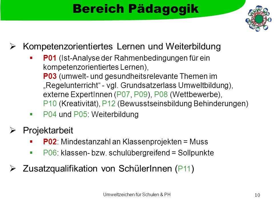 """Umweltzeichen für Schulen & PH 10  Kompetenzorientiertes Lernen und Weiterbildung  P01 (Ist-Analyse der Rahmenbedingungen für ein kompetenzorientiertes Lernen), P03 (umwelt- und gesundheitsrelevante Themen im """"Regelunterricht - vgl."""