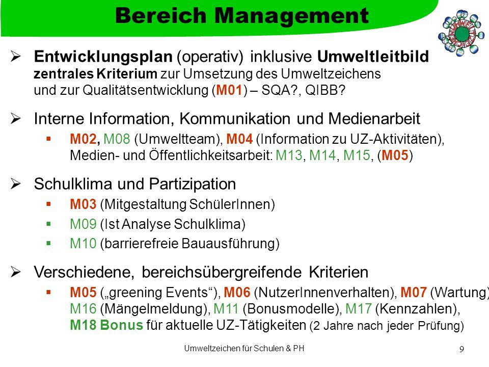 Umweltzeichen für Schulen & PH 9  Entwicklungsplan (operativ) inklusive Umweltleitbild zentrales Kriterium zur Umsetzung des Umweltzeichens und zur Qualitätsentwicklung (M01) – SQA?, QIBB.