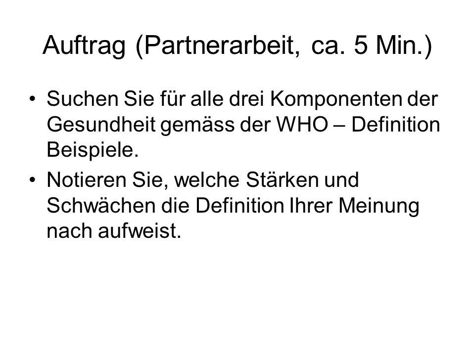 Auftrag (Partnerarbeit, ca. 5 Min.) Suchen Sie für alle drei Komponenten der Gesundheit gemäss der WHO – Definition Beispiele. Notieren Sie, welche St