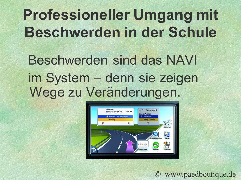 Beschwerden sind das NAVI im System – denn sie zeigen Wege zu Veränderungen. © www.paedboutique.de Professioneller Umgang mit Beschwerden in der Schul