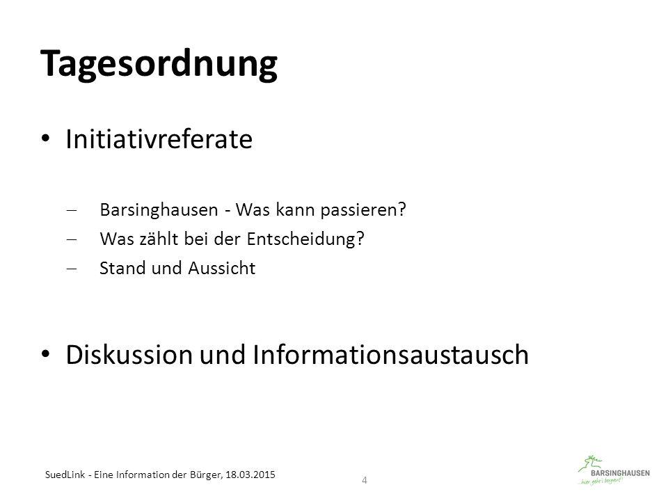 Tagesordnung Initiativreferate  Barsinghausen - Was kann passieren?  Was zählt bei der Entscheidung?  Stand und Aussicht Diskussion und Information