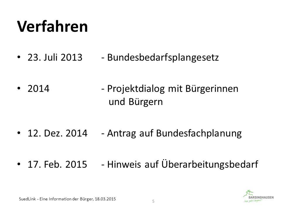 Verfahren 23. Juli 2013 - Bundesbedarfsplangesetz 2014- Projektdialog mit Bürgerinnen und Bürgern 12. Dez. 2014- Antrag auf Bundesfachplanung 17. Feb.