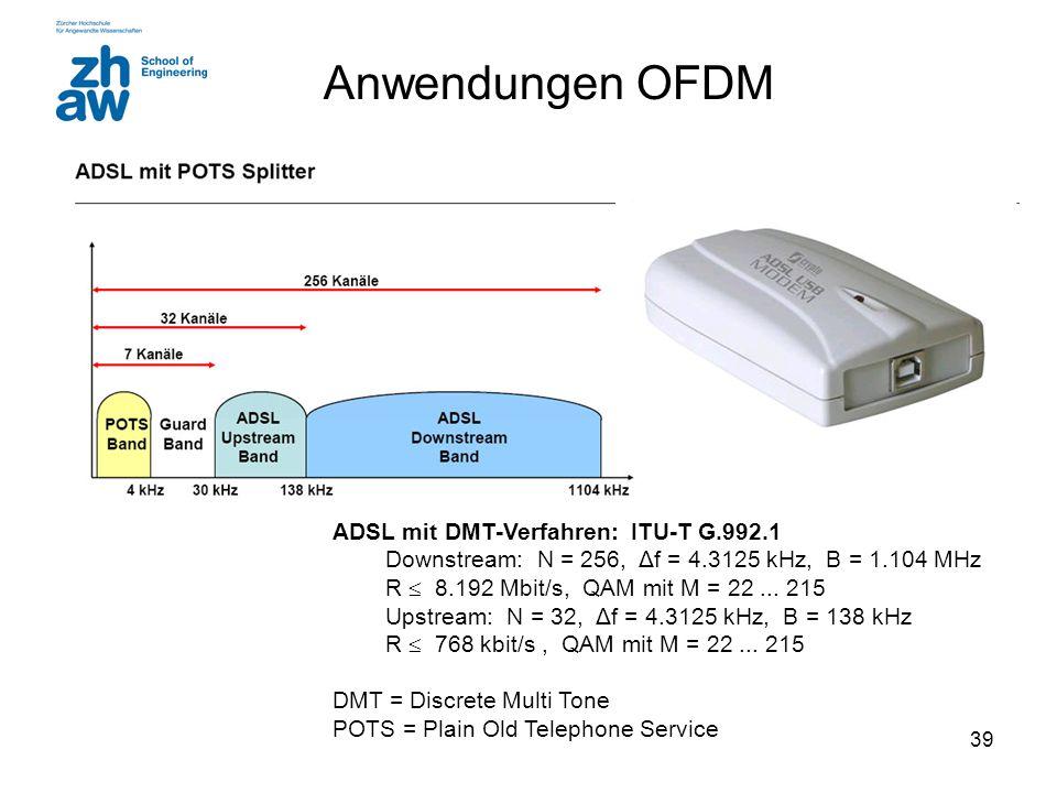 39 Anwendungen OFDM ADSL mit DMT-Verfahren: ITU-T G.992.1 Downstream: N = 256, Δf = 4.3125 kHz, B = 1.104 MHz R  8.192 Mbit/s, QAM mit M = 22...