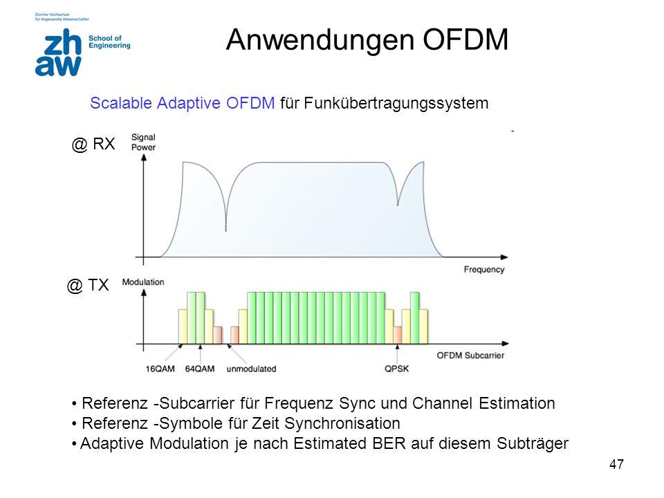 47 Anwendungen OFDM Scalable Adaptive OFDM für Funkübertragungssystem Referenz -Subcarrier für Frequenz Sync und Channel Estimation Referenz -Symbole für Zeit Synchronisation Adaptive Modulation je nach Estimated BER auf diesem Subträger @ RX @ TX