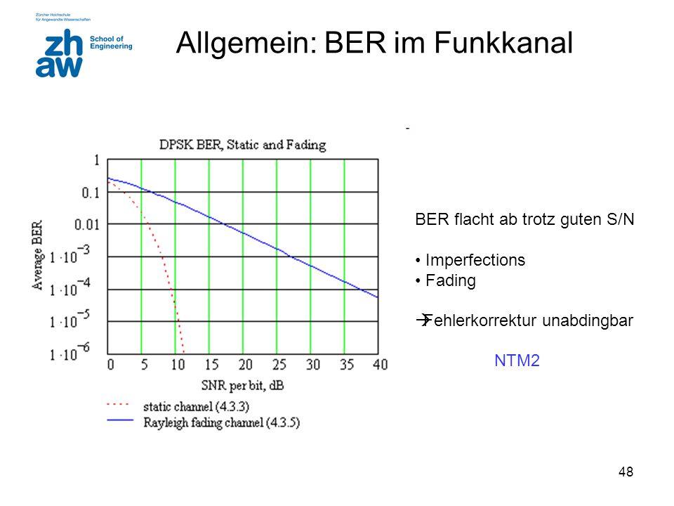 48 Allgemein: BER im Funkkanal BER flacht ab trotz guten S/N Imperfections Fading  Fehlerkorrektur unabdingbar NTM2