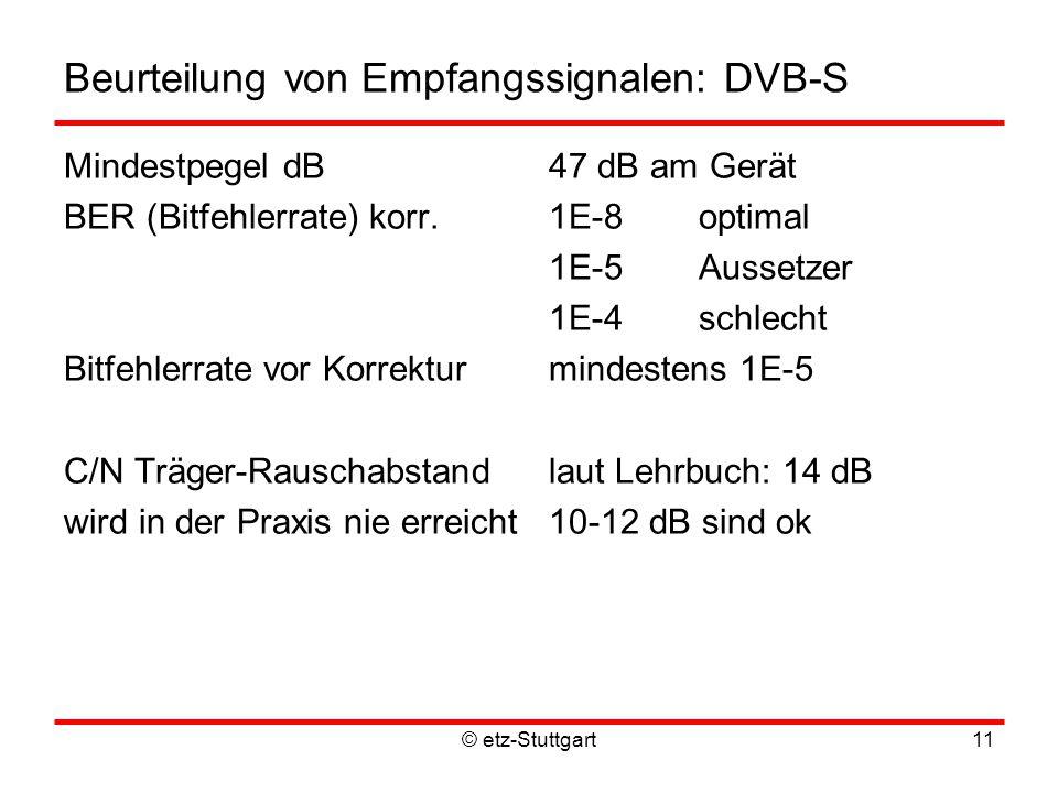© etz-Stuttgart11 Beurteilung von Empfangssignalen: DVB-S Mindestpegel dB47 dB am Gerät BER (Bitfehlerrate) korr.1E-8optimal 1E-5 Aussetzer 1E-4 schlecht Bitfehlerrate vor Korrekturmindestens 1E-5 C/N Träger-Rauschabstandlaut Lehrbuch: 14 dB wird in der Praxis nie erreicht10-12 dB sind ok