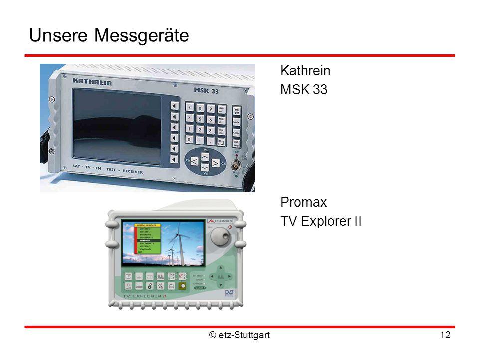© etz-Stuttgart12 Unsere Messgeräte Kathrein MSK 33 Promax TV Explorer II