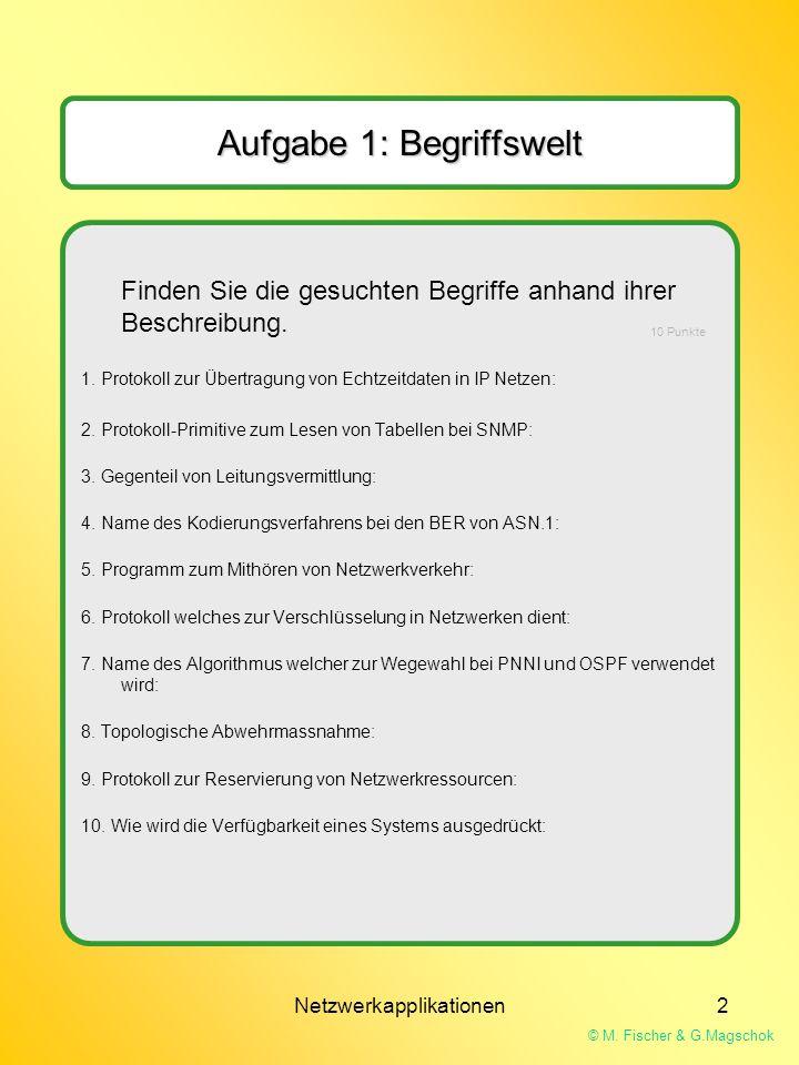 © M. Fischer & G.Magschok Netzwerkapplikationen2 Finden Sie die gesuchten Begriffe anhand ihrer Beschreibung. 1. Protokoll zur Übertragung von Echtzei