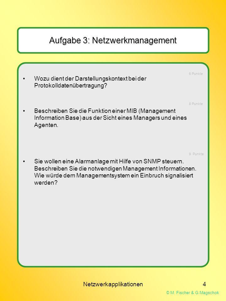 © M. Fischer & G.Magschok Netzwerkapplikationen4 Aufgabe 3: Netzwerkmanagement Wozu dient der Darstellungskontext bei der Protokolldatenübertragung? B